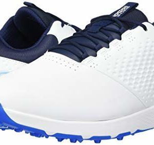 Skechers Men's Elite 4 Waterproof Golf Shoe, White/Navy, 8 W US