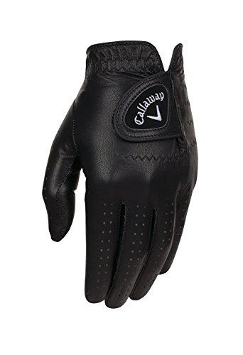 Callaway Golf Men's OptiColor Leather Glove, Black, Medium/Large, Worn on Left Hand