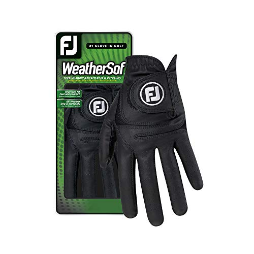 FootJoy Men's WeatherSof Golf Glove Black Cadet Small, Worn on Left Hand