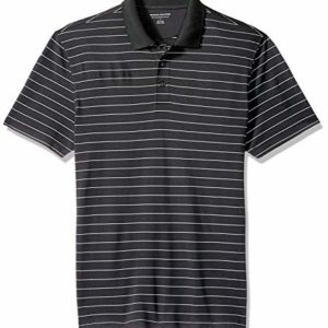 Amazon Essentials Men's Slim-Fit Quick-Dry Golf Polo Shirt, Black Stripe, Large
