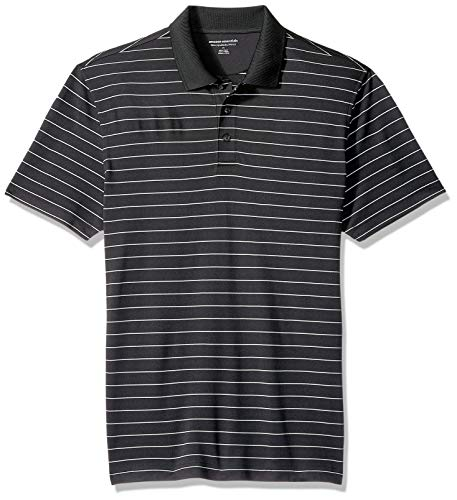 Amazon Essentials Men's Slim-Fit Quick-Dry Golf Polo Shirt, Black Stripe, Large