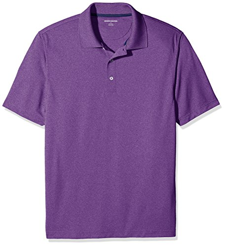 Amazon Essentials Men's Regular-Fit Quick-Dry Golf Polo Shirt, Purple Heather, Large