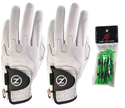 Zero Friction Male Men's Cabretta Elite Golf Glove 2 Pack, Free Tee Pack White & White, Universal Fit