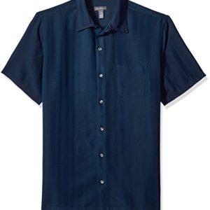 Van Heusen Men's Air Short Sleeve Button Down Poly Rayon Stripe Shirt, Blue/Black Iris, Small
