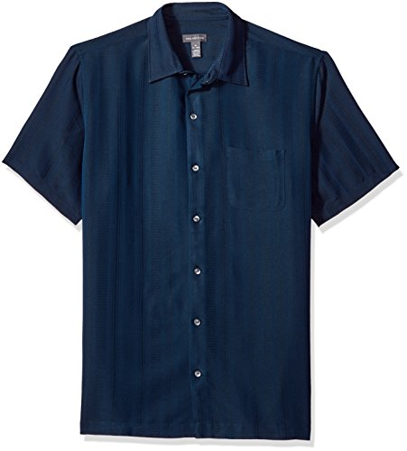 Van Heusen Men's Air Short Sleeve Button Down Poly Rayon Stripe Shirt, Blue/Black Iris, Small