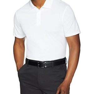 Amazon Essentials Men's Slim-Fit Quick-Dry Golf Polo Shirt, White, Medium