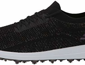Skechers Women's Max Golf Shoe, Black/Multi Knit, 6 M US