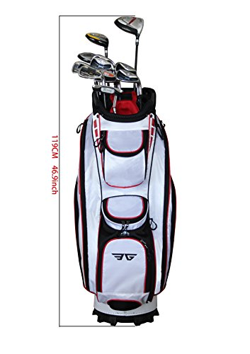 Eagole Super Light Golf Cart Bag,14 Way Top and Full Length Divider,10 Pockets (White)