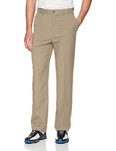 PGA TOUR Men's Flat Front Golf Pant with Expandable Waistband, Chinchilla, 36W x 30L