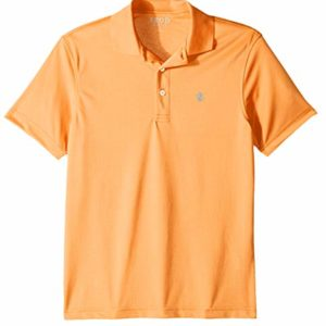 IZOD Men's Performance Golf Grid Short Sleeve Stretch Polo Shirt, Cantaloupe, Large
