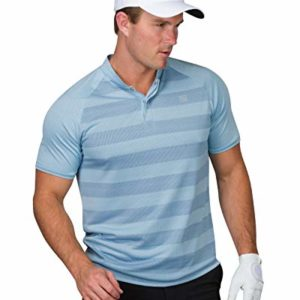 Three Sixty Six Golf Shirts for Men – Dry Fit Collarless Polo Shirts – Lightweight and Breathable, Stripe Design Classic Blue