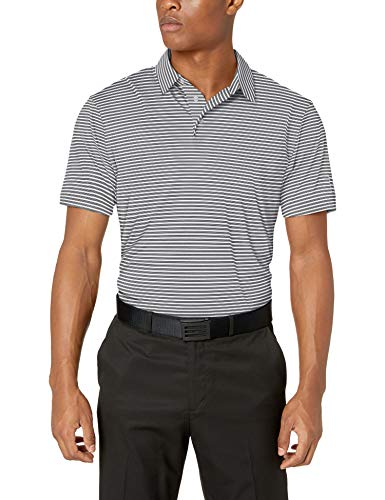PGA TOUR Men's Short Sleeve Feeder Stripe Polo Shirt, Bright White, S