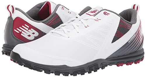 New Balance Men's Minimus SL Waterproof Spikeless Comfort Golf Shoe,white/maroon,9.5 D D US