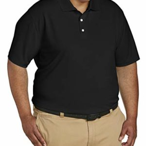 Amazon Essentials Men's Big & Tall Quick-Dry Golf Polo Shirt fit by DXL, Black, 4X Tall