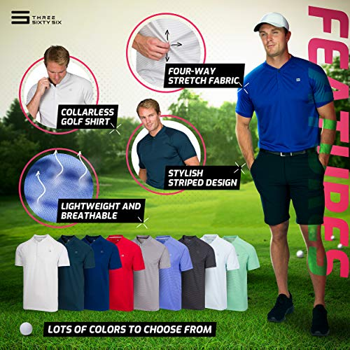 Three Sixty Six Collarless Golf Shirts for Men – Men's Casual Dry Fit Short Sleeve Polo, Lightweight and Breathable