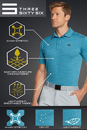Three Sixty Six Golf Shirts for Men – Dry Fit Short-Sleeve Polo, Athletic Casual Collared T-Shirt