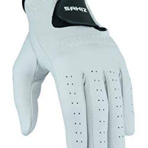 Sahiz Men's Golf Gloves Single Glove Value Pack Premium Quality Genuine Cabretta Leather Left Hand All Weather Golf Gloves (Large, Left Hand)