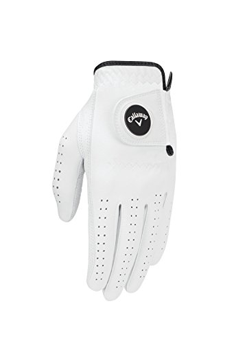 Callaway Men's Opti Flex Golf Glove, White, Medium/Large, Worn on Left Hand
