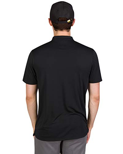 Three Sixty Six Quick Dry Collarless Golf Shirts for Men – Short Sleeve Casual Polo, Stretch Fabric Black