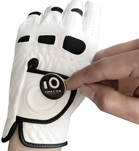 FINGER TEN Men's Golf Glove Left Hand Right with Ball Marker Value 2 Pack, Weathersof Grip Soft Comfortable, Fit Size Small Medium ML Large XL (Medium, Worn on Left Hand)