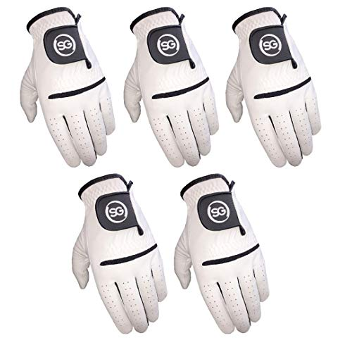 Pack of 5 White All Weather Synthetic Golf Gloves with Cabretta Leather Palm and Thumb (Small, Left)