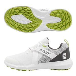 FootJoy Men's FJ Flex Golf Shoes, White/Grey, 12 M US