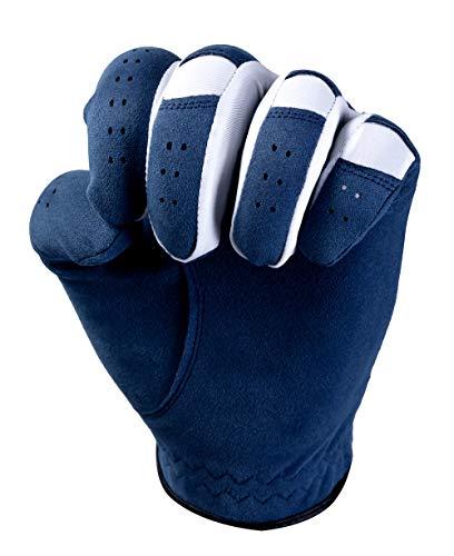 MAZEL Premium Men's Golf Gloves Left Hand,Hot Wet Weather Sweat-Absorbing,Fit Size S M L XL (Blue, XL)