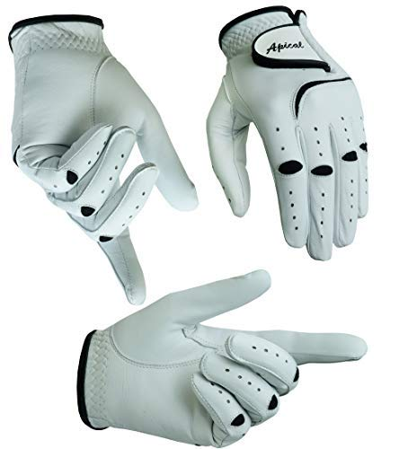 Apical 2018 Mens All Premium Soft Cabretta Leather Tour Fit Grip Left Hand Lh Cadet Size Golf Gloves Value 3 Pack Size from Small to XXL (X-Large, Left Handed)
