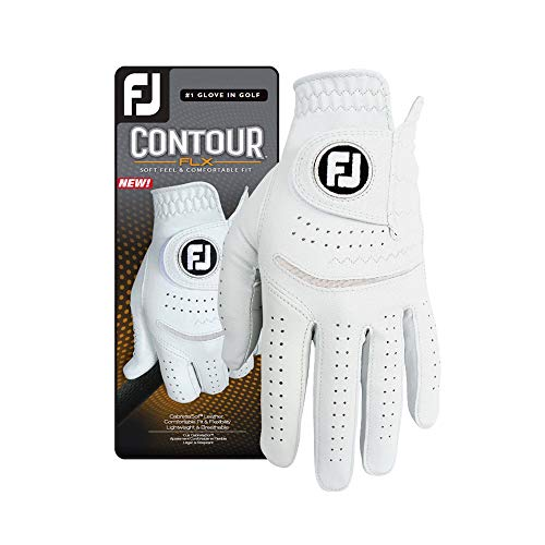 FootJoy Men's Contour FLX Golf Glove, Pearl, Cadet Medium/Large, Worn on Left Hand