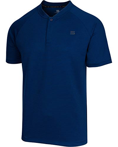 Three Sixty Six Collarless Golf Shirts for Men – Men's Casual Dry Fit Short Sleeve Polo, Lightweight and Breathable Deep Navy