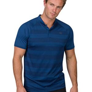 Three Sixty Six Golf Shirts for Men – Dry Fit Collarless Polo Shirts – Lightweight and Breathable, Stripe Design Deep Navy