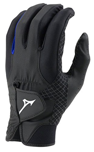 Mizuno 2018 RainFit Men's Golf Glove, Pair, Black/Royal, X-Large