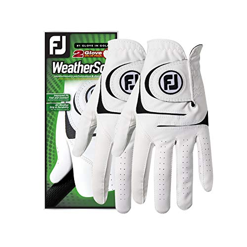 FootJoy Men's WeatherSof 2-Pack Golf Glove White Medium/Large, Worn on Left Hand