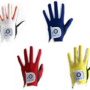 FINGER TEN Golf Gloves Kids Boys Girls Left Hand Right Value 2 Pack, Youth Junior Lh Rh Handed Golfer Glove Color White Red Blue, Fit 4-11 Years (Medium Yellow, Left)