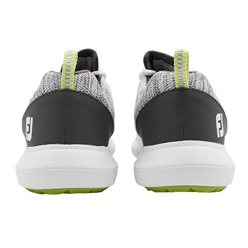FootJoy Men's FJ Flex Golf Shoes, White/Grey, 12 M US