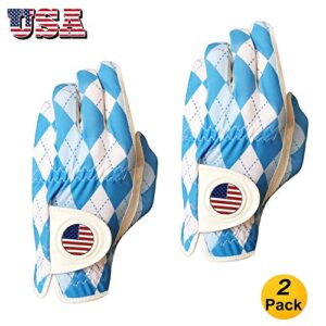 FINGER TEN Golf Gloves Men Left Hand Right with Ball Marker USA Flag Leather Value 2 Pack, Breathable Comfortable Weathersof Grip Size Small Medium ML Large XL (White, M/Large-Worn on Left Hand)