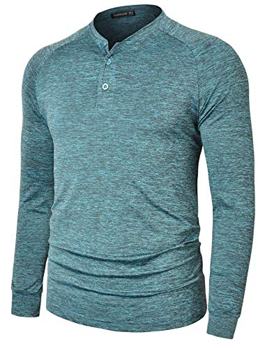 TAPULCO Mens Collarless Golf Shirts Long Sleeve Dry Fit Stretch Casual Breathable Lightweight Tshirts Heather Blue Green Medium