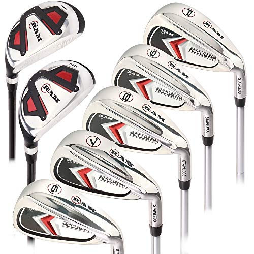 Ram Golf Accubar Mens Clubs Iron Set 6-7-8-9-PW with Hybrids 24° and 27° – Mens Right Hand