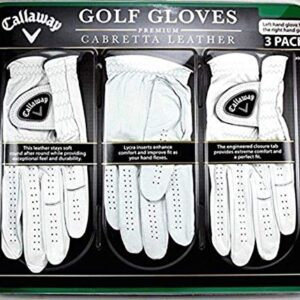 Callaway Premium Cabretta Leather Golf Gloves, Large, 3-Pack