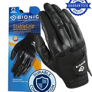 New Improved 2X Long Lasting Bionic StableGrip Men's Black Golf Glove – Patented Stable Grip Genuine Cabretta Leather, Natural Fit Designed by Orthopedic Surgeon! (Medium Large, Worn on Left Hand)