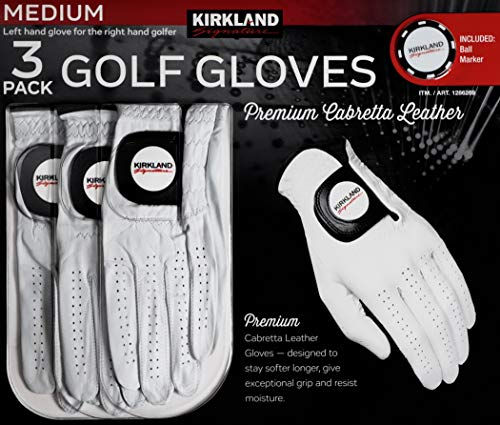 Kirkland Signature Men's Golf Gloves Premium Cabretta Leather, Medium/Large, 3 Pack