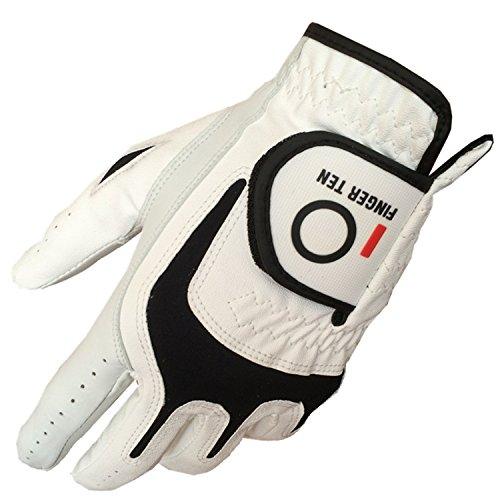 FINGER TEN Men's Golf Gloves Left Hand Right 6 Pack, All Weather Cabretta Leather Grip, Durable Fit Small Medium Large XL (Medium)