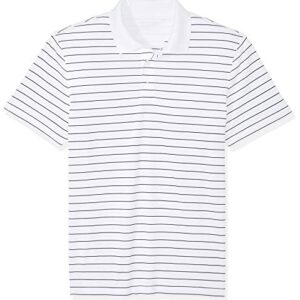 Amazon Essentials Men's Slim-Fit Quick-Dry Golf Polo Shirt, White Stripe, Large
