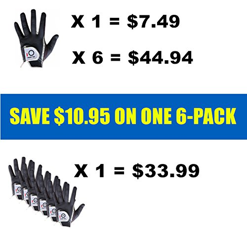 FINGER TEN Men Golf Glove Rain Grip Left Hand Right Value 6 Pack, Fit Hot Wet Weather, Size Small Medium Large XL (25=M/Large Black Right)