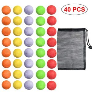 40 Pack Foam Golf Practice Balls – Realistic Feel and Limited Flight Training Balls for Indoor or Outdoor (5 Color, 8 Pack of Each Color)