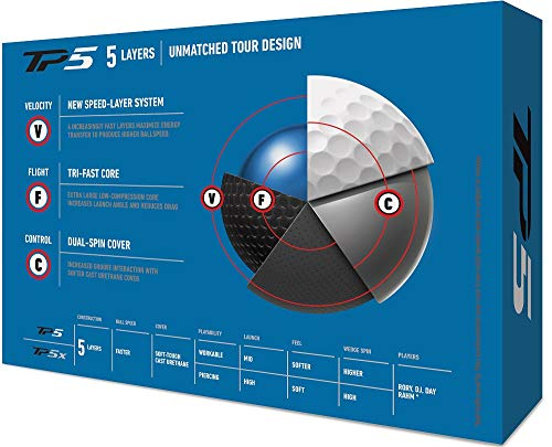 TaylorMade TP5 Golf Balls, White (One Dozen)