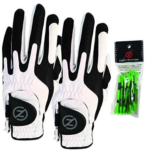 Zero Friction Male Men's Compression-Fit Synthetic Golf Glove (2 Pack), Universal Fit White/White, One Size