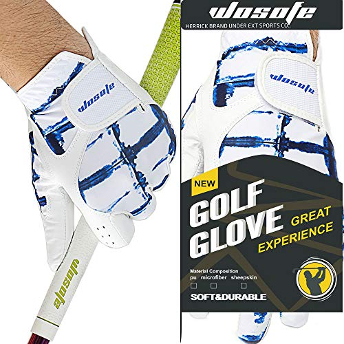 wosofe Golf Glove for Men's Left Hand White Soft Leather Breathable Professional Golf Hand Wear … (X_Large)