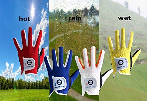 FINGER TEN Golf Gloves Kids Boys Girls Left Hand Right Value 2 Pack, Youth Junior Lh Rh Handed Golfer Glove Color White Red Blue, Fit 4-11 Years (Medium Yellow, Left)
