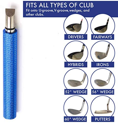 Golf Club Groove Sharpener, Re-Grooving Tool and Cleaner for Wedges & Irons – Generate Optimal Backspin – Suitable for U & V-Grooves